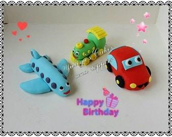 Edible plane,train,car cake topper,babys birthday,handmade icing decoration