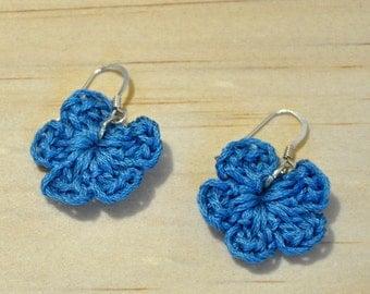 Handmade earrings - Silver earrings - Crochet