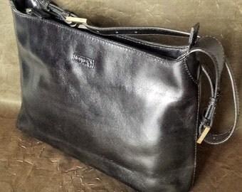 Leather Tote satchel purse bag - Louvier Paris - black leather satchel shoulder bag