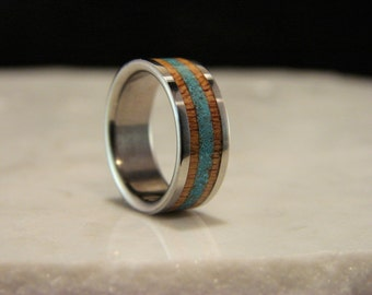 Sycamore and Turquoise Inlay Titanium Ring, Double stone and wood inlay, wedding ring, Stone and wood inlay ring