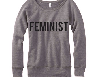 Feminist, Wideneck Fleece Sweatshirt, Metallic Gold, Silver, Glitter And Neon Print,