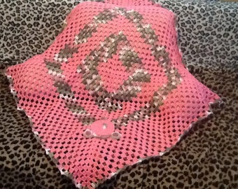 Crochet pink with pink camo baby blanket