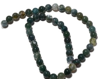 ON SALE 50% Moss Agate Round Beads, Natural Moss Agate beads, 6mm Beads, 15 Inch Strand, SKU-Mm47/2