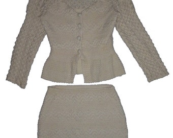 Vintage Hand Knitted Cream 2 Pc Skirt Suit Size Large