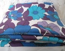 SUMMER SALE 1960s/1970s  Floral Fabric. Blue, Purple and Turquoise. Flower Power Material. Lovely Retro Fabric.