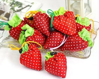 3XStrawberry Folding Eco Shopping Travel Bag Pouch Tote Handbag Reusable