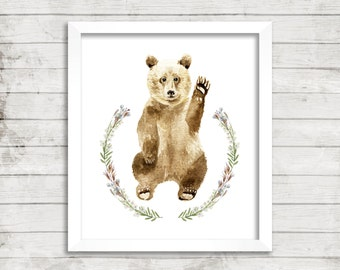 Waving Cub - Archival Giclée Print. Nursery Art Print. Woodland Print. Bear Art.