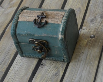 Wedding Ring Chest Wooden Box Ring Bearer Pillow Shabby Chic Rustic Burlap Lace Beach Wedding Anchor