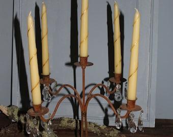 Vintage metal candelabra five arm