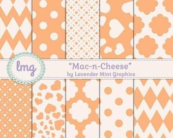 Orange Digital Scrapbook Paper, Orange Digital Paper, Polka Dots, Chevron Background, Printable Paper, Instant Download, Commercial Use