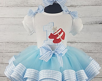 Dorothy Blue & White Red Glitter Shoes Ruby Slippers Gingham Birthday Personalized Ribbon Tutu 3 Piece Set Wizard of Oz Set Age 1-6
