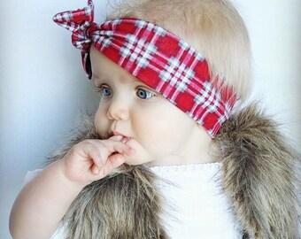 Plaid Baby Topknot Headband toddler headband baby topknot headband