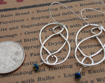 Hand hammered sterling silver with Swarovski beads