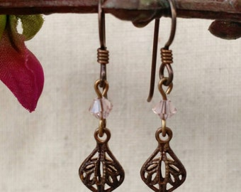 Dainty  Brass Filigree Drops in Pink