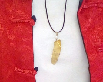 Yellow Translucent Upcycled Glass Pendant Necklace Wire Wrapped Tumbled Glass Sea Glass Beach Glass Vintage Glass Gift