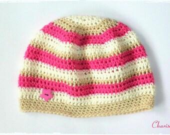 Baby hats, cotton, pink, beige, off-white