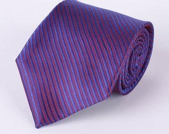 50% off purple red Striped neck tie silk handmade