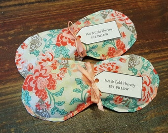 Coral Floral and Butterflies - Eye Pillow - Hot & Cold Therapy Rice Pack