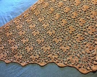Autumn Leaves Shawl Silk Blend  Lace Crochet in Café au Lait