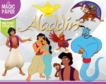 Aladdin Clipart - Digital 300 DPI PNG Images, Photos, Scrapbook, Digital, Cliparts - Instant Download