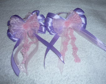 "Two 3.5"" purple&pink hair bows"