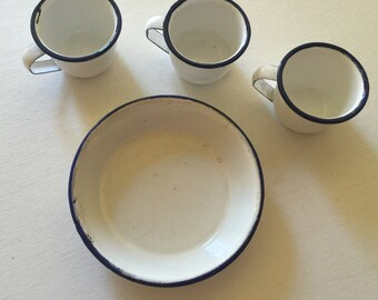 Enamelware Miniature Cups and Dish - 3 cups and 1 dish