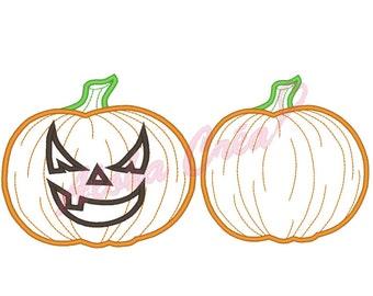 Machine Embroidery Design applique pumpkin halloween 2 models 4 sizes - Instant Digital Download