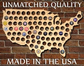 SALE! Beer Cap Map of USA - Made of Beautiful Birch Wood! - Display Beer Cap Art - Cool Birthday Gifts for Men, Husbands, Dad