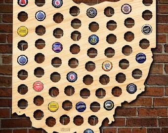 Ohio Beer Cap Map - Can be Personalized! - Made of Beautiful Birch Wood! - OH Beer Cap Holder, Craft Beer Gifts for Men, Dad, Bengals Fans