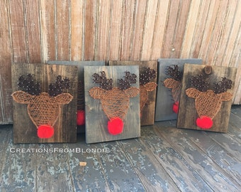 Reindeer Rudolph String Art Sign, MADE TO ORDER