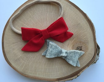 "Fabric ""Zoe"" red bow headband// alligatir clip// set"