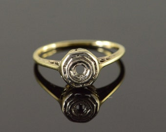 14K 2mm Art Deco Filigree Antique Setting Mounting Engagement Ring Size 4.75 Yellow Gold