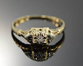 14K Antique 0.02 CT Diamond Engagement Ring - Size 8 / Yellow Gold