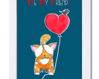 Be My Friend? Watercolor illustration-Friendship-Love