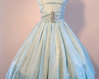 SPRING SALE big discount! Classic 1950's Tiffany Blue princess party dress with rhinestone accents and belt Size SMALL