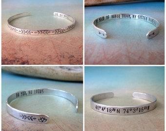Personalized Sterling Silver Bracelet, Silver Stacking Bracelet, Custom Silver Bracelet, Custom Bracelet Personalized, Red Fern Studio