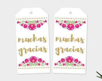 Gracias Tags, Gracias Favor Tags, Mexican Flowers, Gracias Gift Tags, Mexican Favor Tags, Fiesta Favor Tags, Mexican Fiesta, Printable