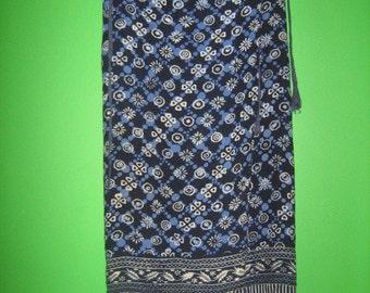 1960's Blue Batik Fringe Wrap Skirt, Free size Women's Small-Medium
