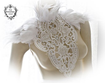 White swan lace and feather collar-feather neckpiece-feather collar-lace and feather neck  shoulder piece-gothic collar-white/ivory feathers