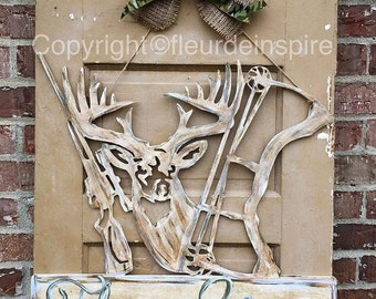 Deer door hanger-rifle and bow mural-custom-wall hanger-hunting sign