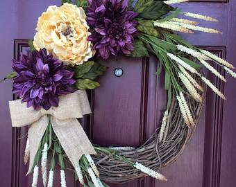 Front Door Wreath, Fall Wreath, All Season Wreath, Grapevine Wreath, Autumn Wreath, Door Decor, Burlap Bow, Summer Wreath, Spring Wreath