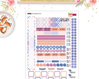 January 2017 Planner Stickers for your  PERSONAL SIZE planner (MP01)