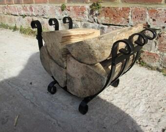 Small Wrought Iron style Handmade Log Basket, log holder, round black