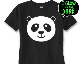 GLOW in the dark tshirt  Panda Bear tshirt ,hipster t shirt, toddler tshirt, t shirts for boys,,glow in the dark clothes,baby t shirt,GIFT