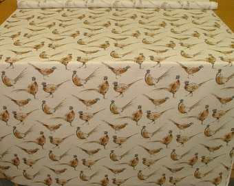 Linen look Pheasants , Fabric by the metre, Woodland Animals