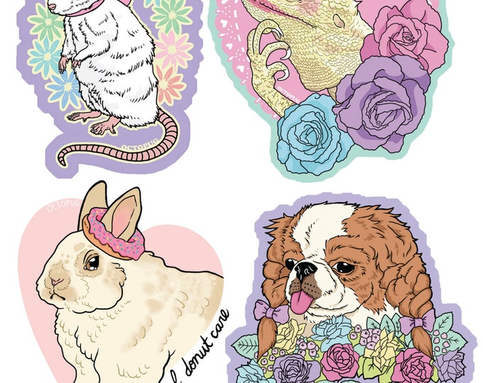 Kitschy Cute Animal Stickers or Magnets