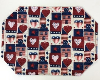 Americana Placemats/Set of 4 or 6/Hearts and Homes