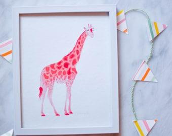 Pink Giraffe Print - 8x10