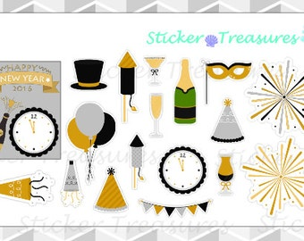 New Years Eve- Black & Gold [Planner Stickers]