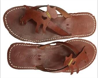 Bull Terrier sandals - Dog Lovers flip flops - Handmade leather shoes